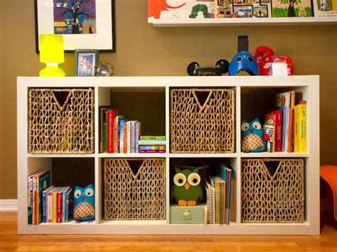 Woven Baskets And Storage Shelf In Kids Room Woven Baskets