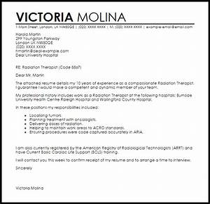 radiation therapist cover letter sample livecareer With psychotherapist cover letter