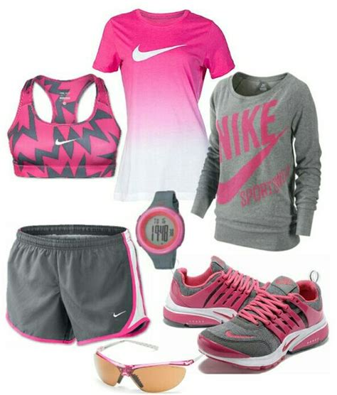 Womenu0026#39;s fashion Pink and gray nike outfit http//www.FitnessApparelExpress.com | nike ...