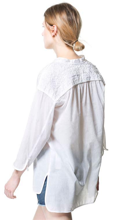zara white blouse zara blouse with embroidered yoke in white lyst