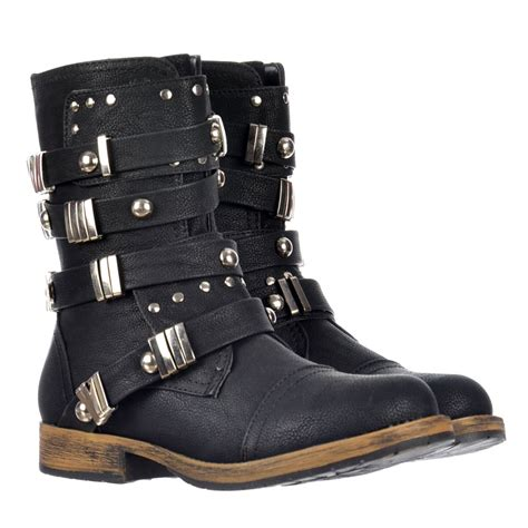 biker boot style dolcis military style ankle biker boot metal studded