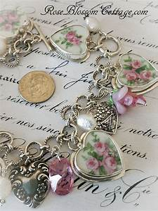 Triple Pink Shabby Roses Sterling Broken China Jewelry ...