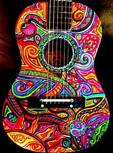 Super cool hand painted guitar art. | All things music ...