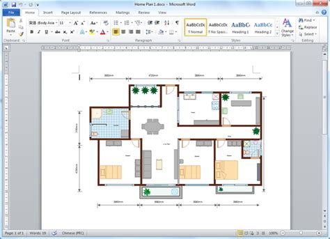 create floor plan for word