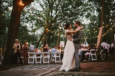 diy backyard wedding   woods reception string