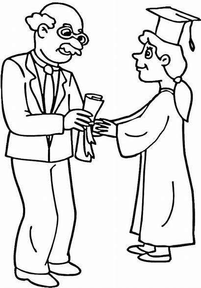Graduation Coloring Pages Diploma Student Professor Drawings