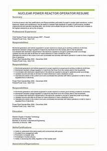 Maintenance Worker Resume Sample Nuclear Power Reactor Operator Resume