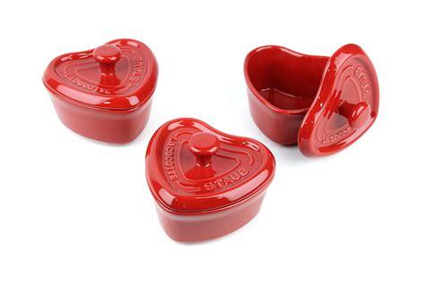 staub ceramic mini heart cocotte set  piece cherry red cutlery