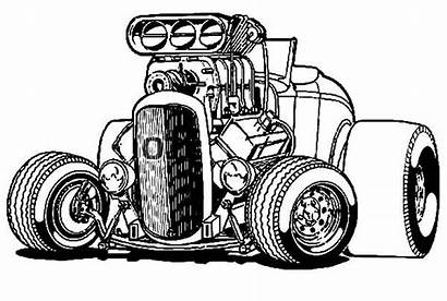 Coloring Rod Pages Wheels Cars Rods Drawing