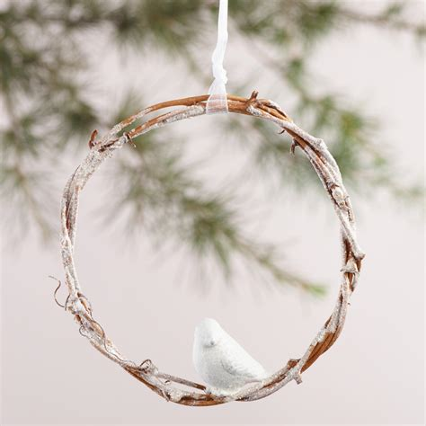 twig wreath with woodland creature ornaments set of 3