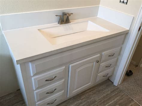 bathroom countertops with sinks built in custom built white concrete countertop with integrated