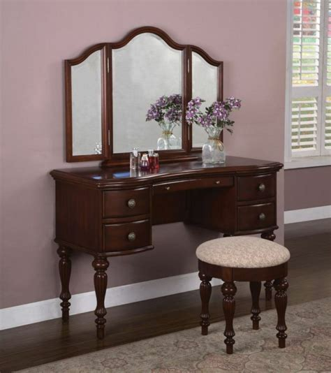Makeup Vanity Table With Mirror And Bench - powell marquis cherry vanity mirror bench set bedroom