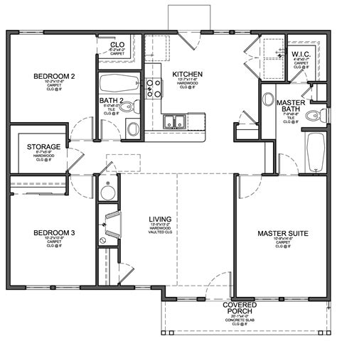 small bedroom floor plans carriage house plans small house floor plan
