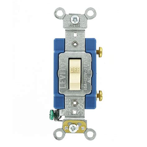 single pole switch leviton 15 amp industrial grade heavy duty single pole toggle switch ivory 1201 2i the home depot