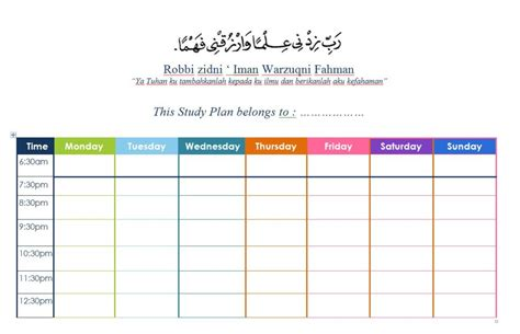 Study Template Study Plan Template For The Students Cluster 2