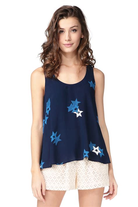 see by chlo 233 sleeveless top in blue lyst