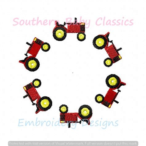tractor circle monogram frame machine embroidery design fall southern baby classics