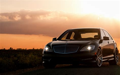 Cool Picture Of Mercedes Benz S-class, Wallpaper Of Sunset