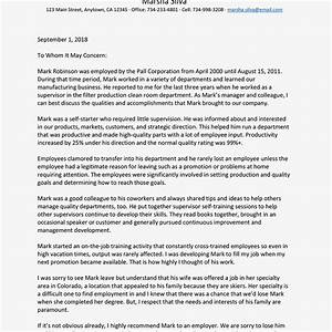 Recommendation Letter For Employee From Manager Example ...