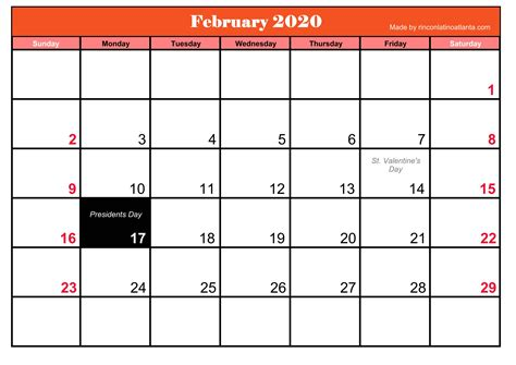 printable frebruary calendar holidays calendar template