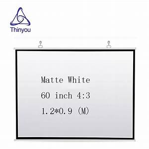 Thinyou Wall Projection Screen 60 Inches 4 3 Manual Pull