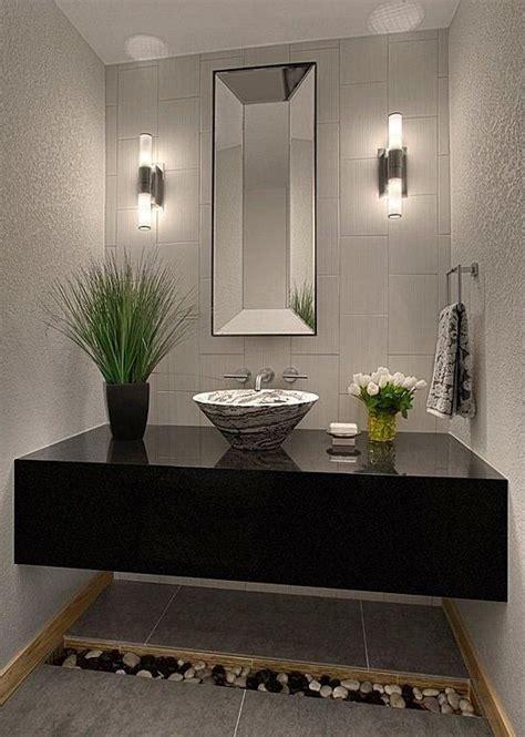 modern powder room  simple granite tile floors powder