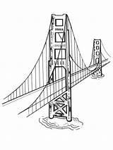 Bridge Gate Golden Colouring Coloring Coloringpage Colour America Check sketch template