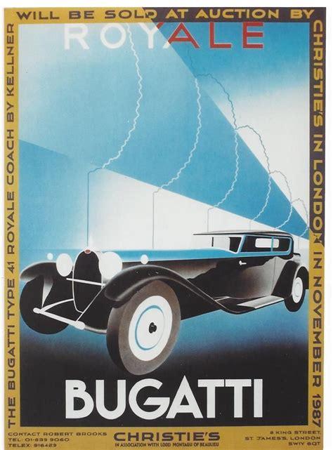 original vintage poster bugatti royale coach prestige car art illustration bugatti royale