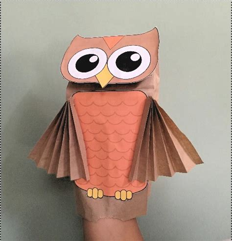 paper bag owl puppet fun family crafts