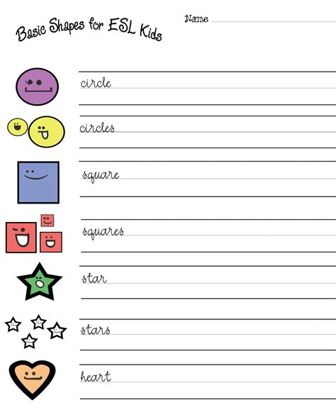 esl kids free shapes worksheets hubpages