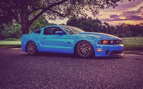 Ford Mustang, Muscle Cars, Low Ride, Tuning, Blue Cars