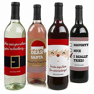 funny jolly santa claus christmas wine bottle label With hilarious wine labels