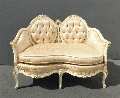 Rococo Settee by Custom Vintage Provincial Ornate Louis Xv Tufted