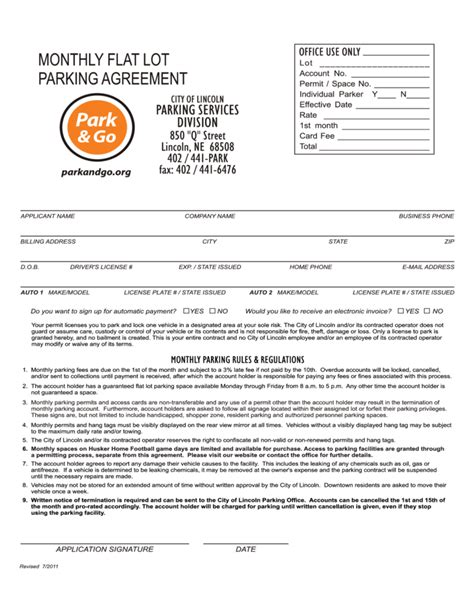 sample monthly flat lot parking agreement
