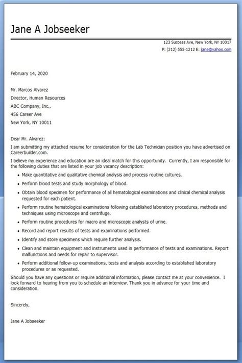 lab technician cover letter examples creative resume