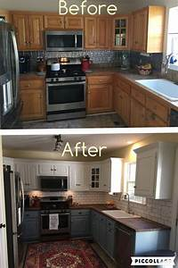 Two toned cabinets valspar cabinet enamel from lowes for Kitchen cabinets lowes with papiers peints fleurs