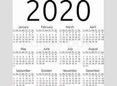 Simple 2020 year calendar, week starts on Sunday, EPS 8
