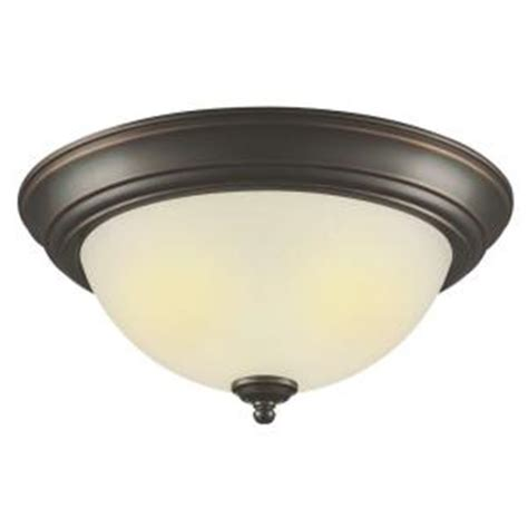 hton bay 2 light outdoor rubbed bronze flushmount