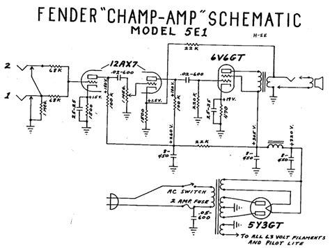 fender champ  wiring diagram  fender champ