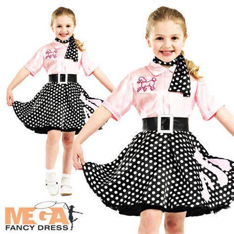 50s Rock N Roll Girls Fancy Dress 1950s Jazz Bopper Kids Childs Costume Outfit | eBay