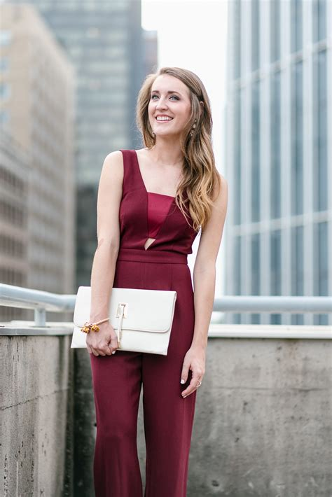 fall wedding guest jumpsuit   chic