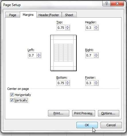 center worksheet horizontally  vertically