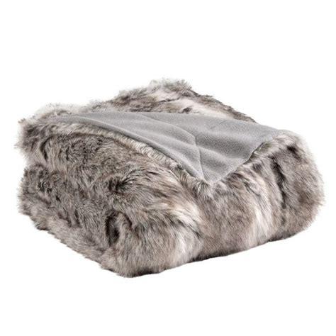 plaids fausse fourrure pour canap plaid fausse fourrure siberie gris 150 x 180 cm achat