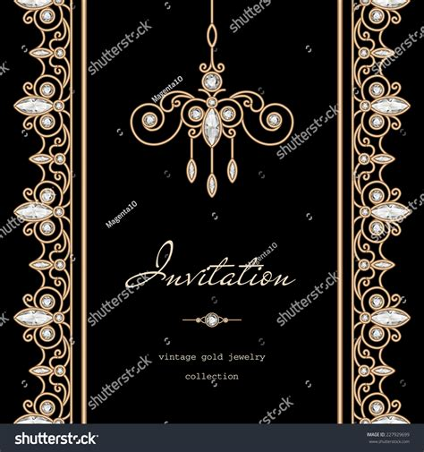 Vintage Gold Background Invitation Template Vector Stock