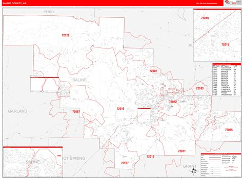 Saline County Ar Zip Code Wall Map Red Line Style By