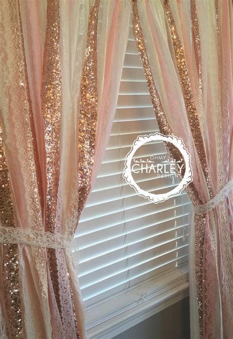 gold sparkle sequin garland curtain with lace nursery