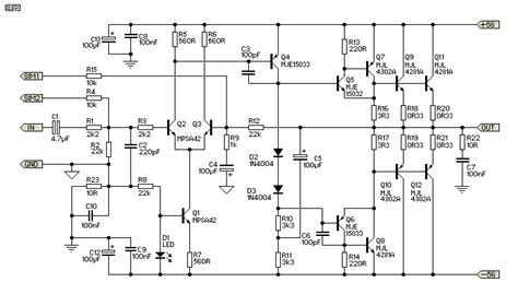 Subwoofer Power Amplifier Wiring Circuit Diagram