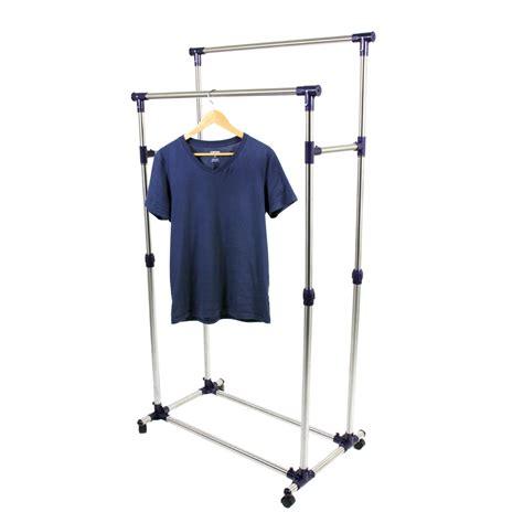rolling garment rack new heavy duty rail adjustable telescopic rolling