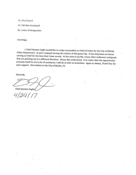 Marlin police chief's resignation letter | | wacotrib.com