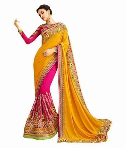 Saree Sadi Lady Party Wear Yellow Multicoloured